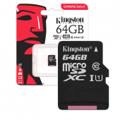 Карта памяти MicroSDHC Kingston 64 GB 80Mb/s, class 10 (с адаптером)